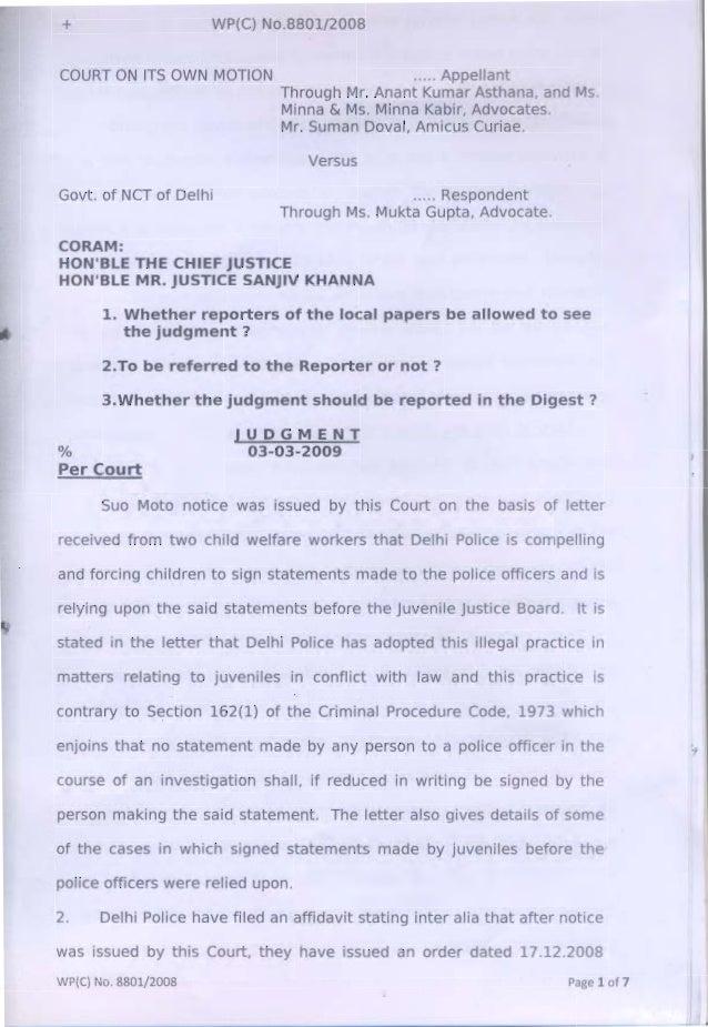 court observation in civil cases in delhi Delay in the disposal of criminal cases irl the sessibns  of the delhi high court viz sarvashri 0 s  delay in the disposal of criminal cases is.