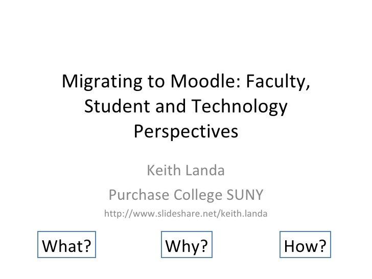 Migrating to Moodle: Faculty, Student and Technology Perspectives Keith Landa Purchase College SUNY http://www.slideshare....