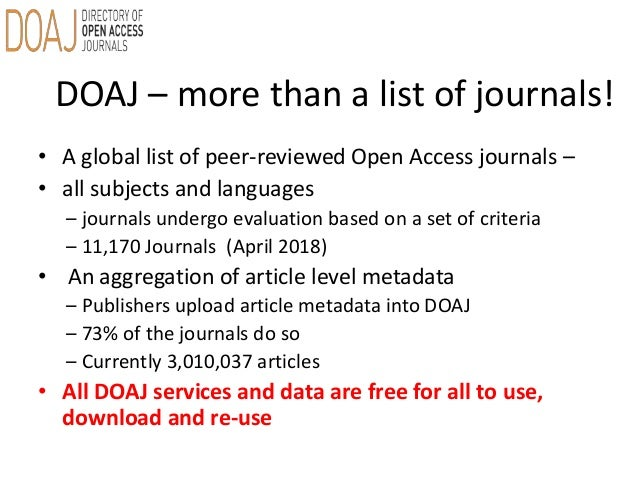 Directory of Open Access Journals [DOAJ] – An introduction
