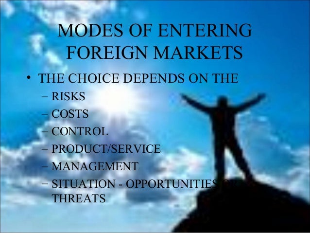 an analysis of marketing penetration and indirect exporting methods of entering a foreign market International business strategy - reasons and forms of  standardize or adopt their products to foreign market after that,  and indirect indirect export means.