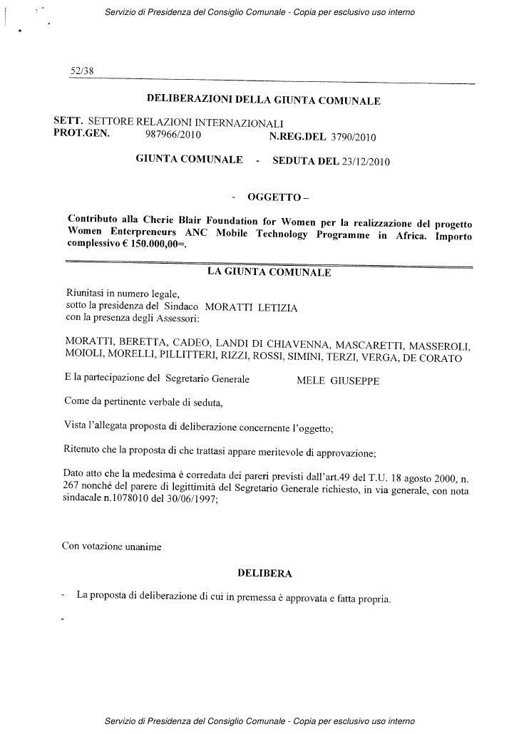 Servizio di Presidenza del Consiglio Comunale - Copia per esclusivo uso internoServizio di Presidenza del Consiglio Comuna...