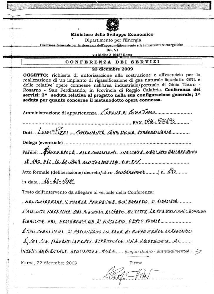 Delibera commissariale Gioia Tauro n. 190 del 16 dicembre 2009