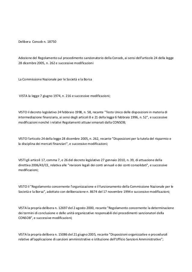 Delibera Consob n. 18750  Adozione del Regolamento sul procedimento sanzionatorio della Consob, ai sensi dell'articolo 24 ...