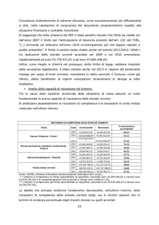 Delibera della corte dei conti di rigetto del piano di for Stima dei costi del piano