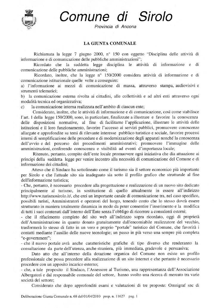 Deliberazione giunta n.68 del 01 04-2010