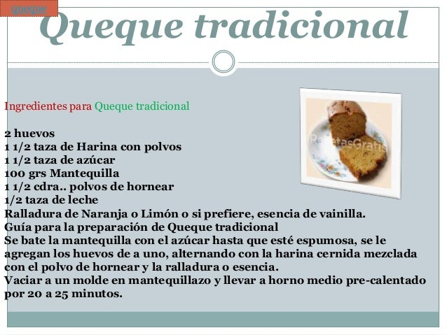 receta para un queque tradicional