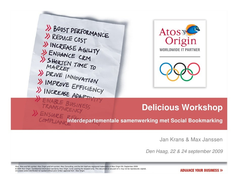 Delicious Workshop                                                                  Interdepartementale samenwerking met S...