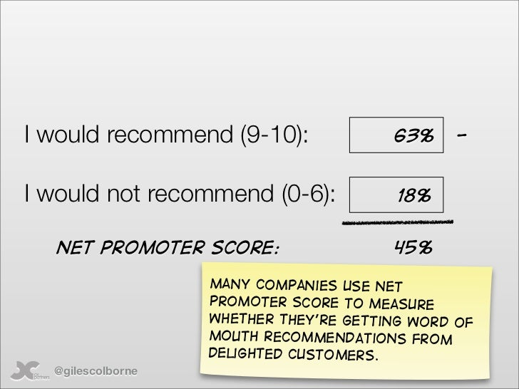 I would recommend (9-10):               63%     -   I would not recommend (0-6):             18%     Net promoter score:  ...