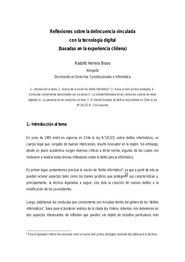 Reflexiones sobre la delincuencia vinculada con la tecnología digital (basadas en la experiencia chilena) Rodolfo Herrera ...