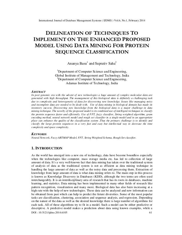 International Journal of Database Management Systems ( IJDMS ) Vol.6, No.1, February 2014 DOI : 10.5121/ijdms.2014.6105 61...