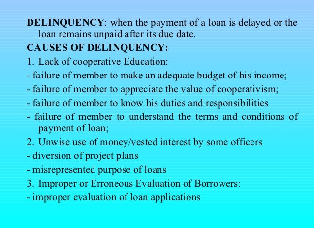 Delinquency control & capital build up for cooperatives Slide 3