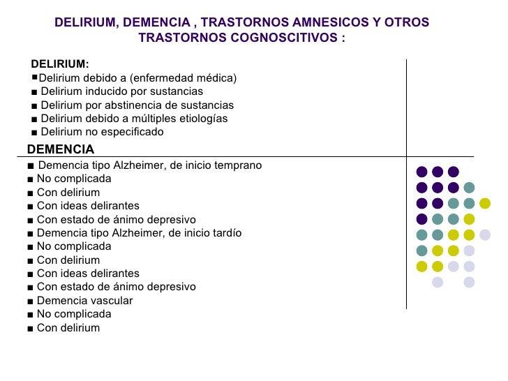 DELIRIUM, DEMENCIA , TRASTORNOS AMNESICOS Y OTROS                 TRASTORNOS COGNOSCITIVOS :DELIRIUM:Delirium debido a (e...