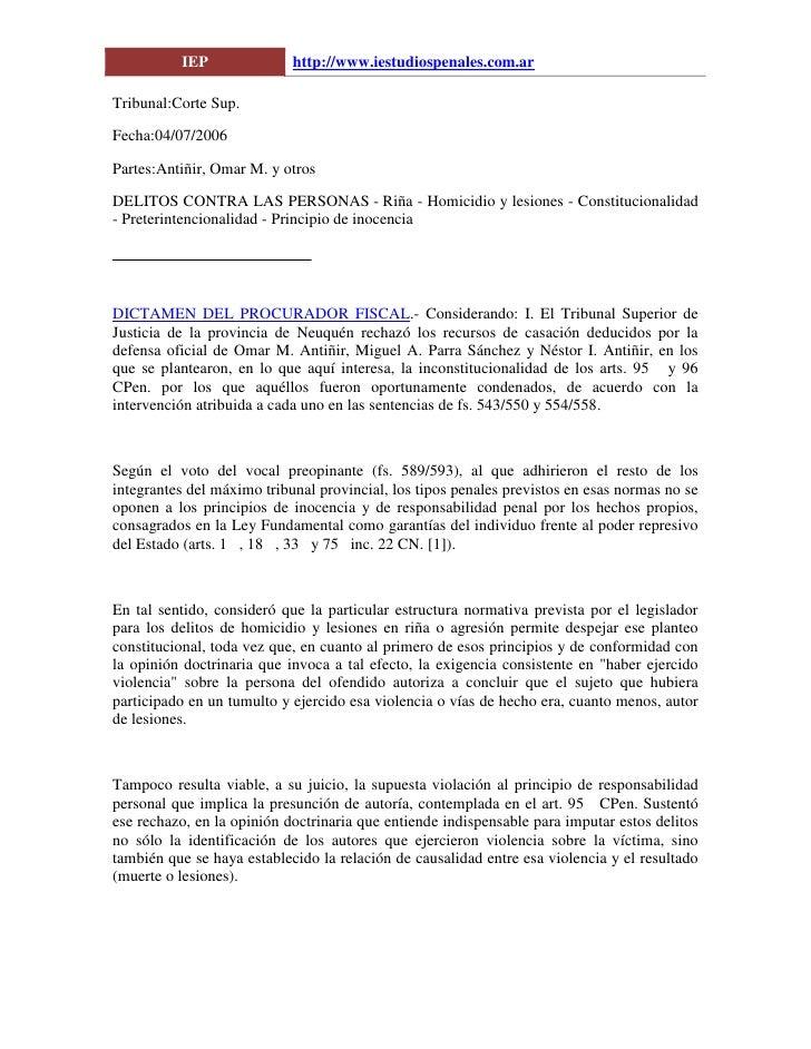 IEP               http://www.iestudiospenales.com.ar  Tribunal:Corte Sup.  Fecha:04/07/2006  Partes:Antiñir, Omar M. y otr...