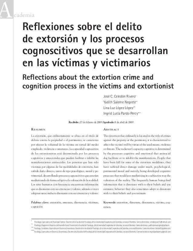 cademia Abstract The extortion that ordinarily is located in the title of crimes against the property or the patrimony, ...