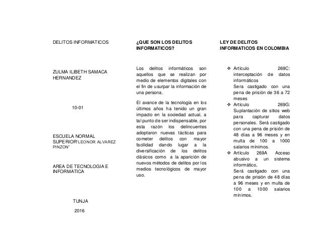 """DELITOS INFORMATICOS ZULMA ILIBETH SAMACA HERNANDEZ 10-01 ESCUELA NORMAL SUPERIOR""""LEONOR ALVAREZ PINZON"""" AREA DE TECNOLOGI..."""