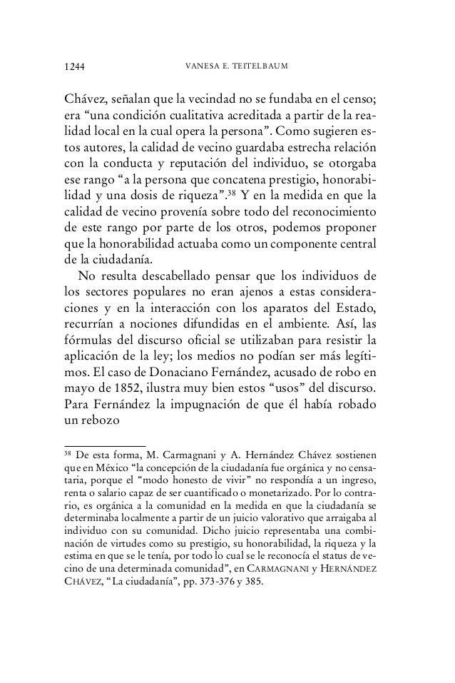 """Chávez, señalan que la vecindad no se fundaba en el censo; era """"una condición cualitativa acreditada a partir de la rea- l..."""