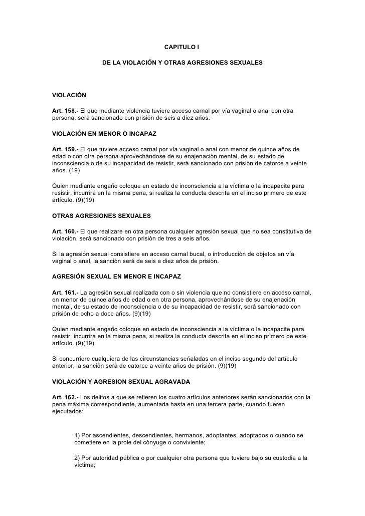 CAPITULO I                     DE LA VIOLACIÓN Y OTRAS AGRESIONES SEXUALES     VIOLACIÓN  Art. 158.- El que mediante viole...