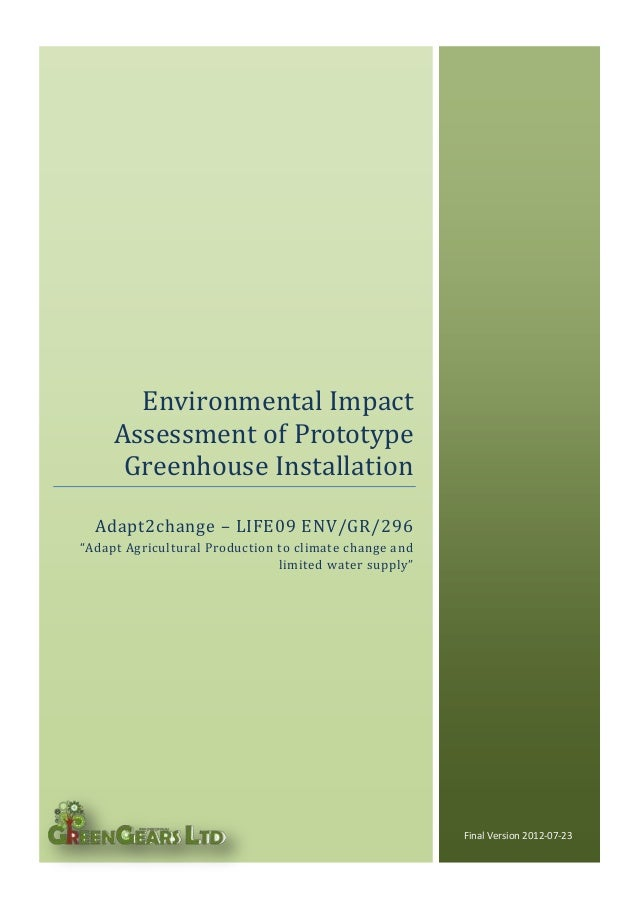 """Adapt2change – LIFE09 ENV/GR/296 """"Adapt Agricultural Production to climate change and limited water supply"""" Final Version ..."""