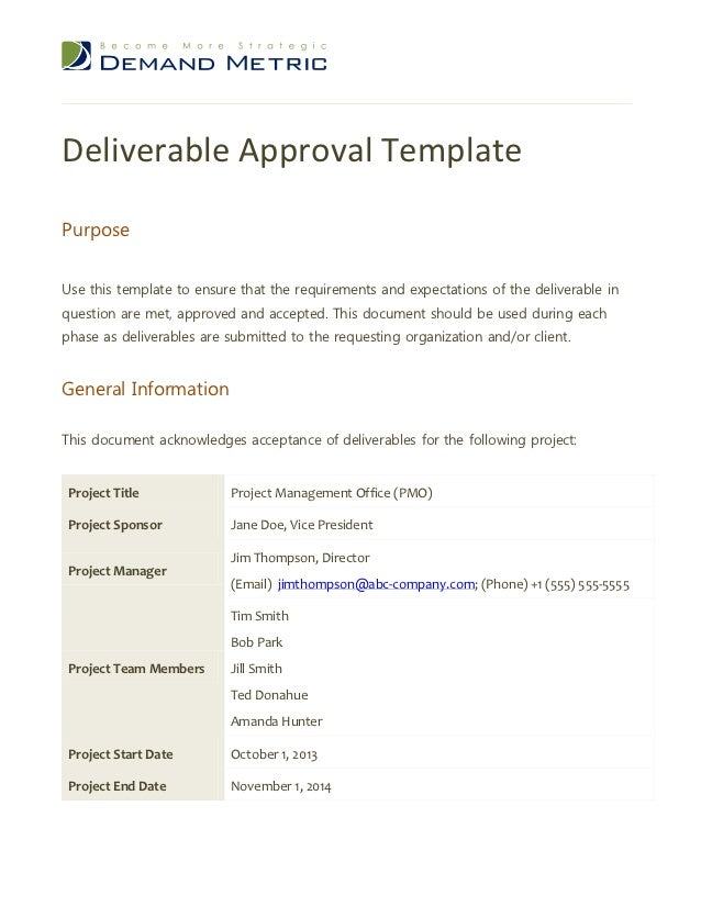 project deliverable template - deliverable approval template