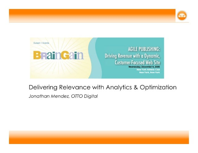 Delivering Relevance Though Optimization & Analytics