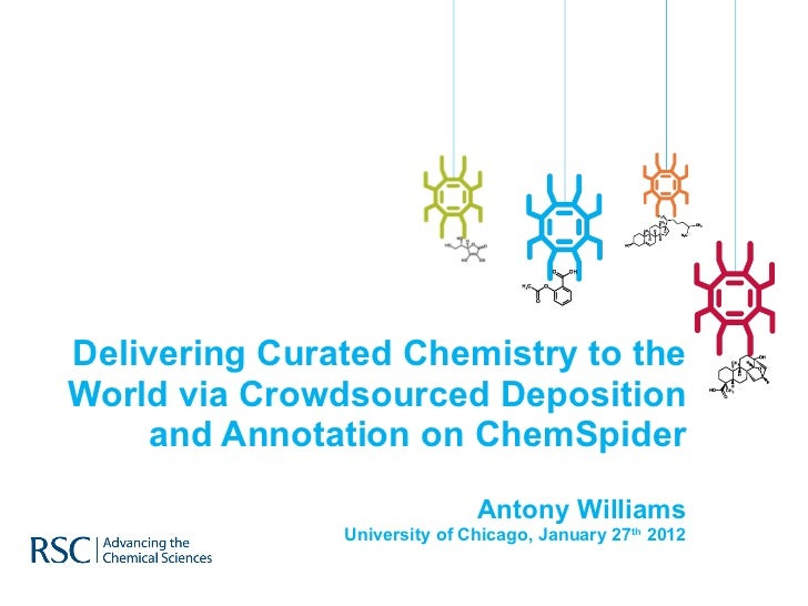 Delivering Curated Chemistry to the World via Crowdsourced Deposition and Annotation on ChemSpider Antony Williams Univers...