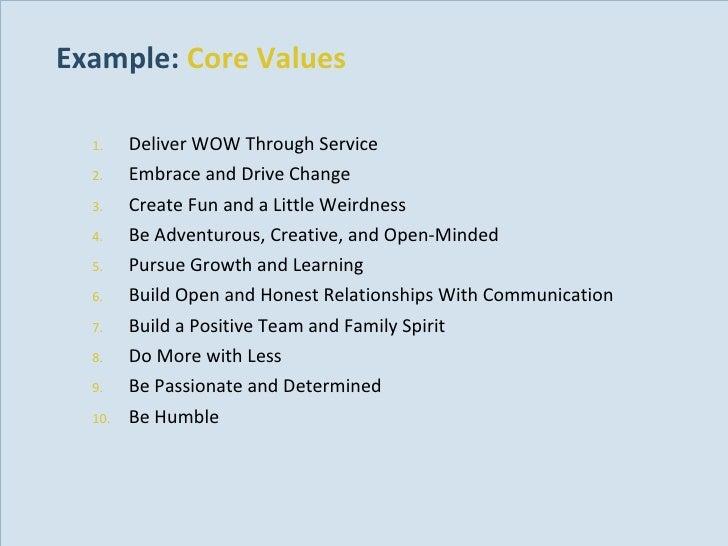 Example:  Core Values <ul><ul><li>Deliver WOW Through Service </li></ul></ul><ul><ul><li>Embrace and Drive Change </li></u...