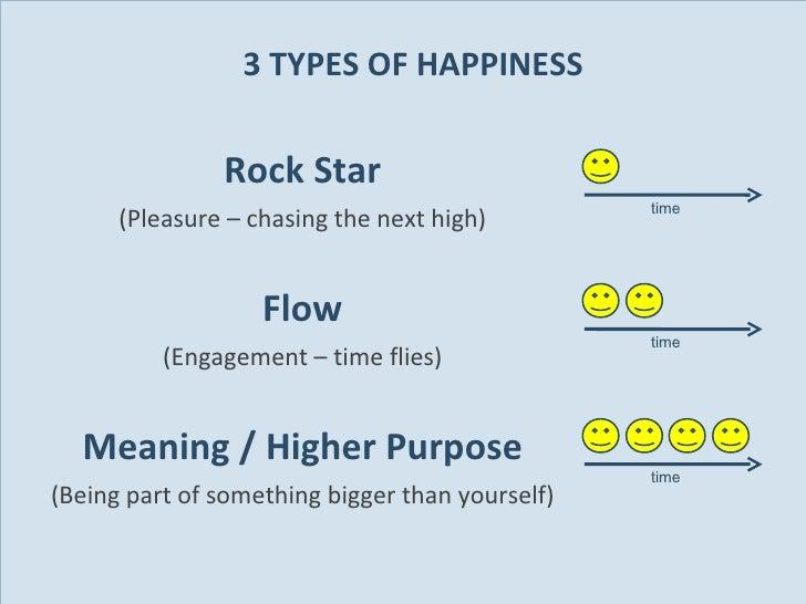 3 TYPES OF HAPPINESS <ul><li>Rock Star </li></ul><ul><li>(Pleasure – chasing the next high) </li></ul><ul><li>Flow </li></...