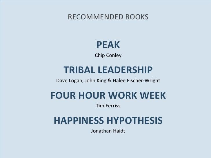 RECOMMENDED BOOKS <ul><li>PEAK </li></ul><ul><li>Chip Conley </li></ul><ul><li>TRIBAL LEADERSHIP </li></ul><ul><li>Dave Lo...