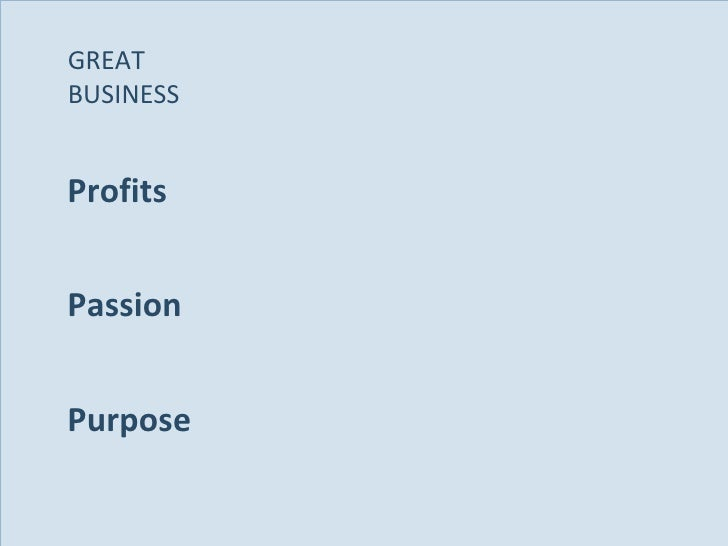Profits Passion Purpose GREAT  BUSINESS