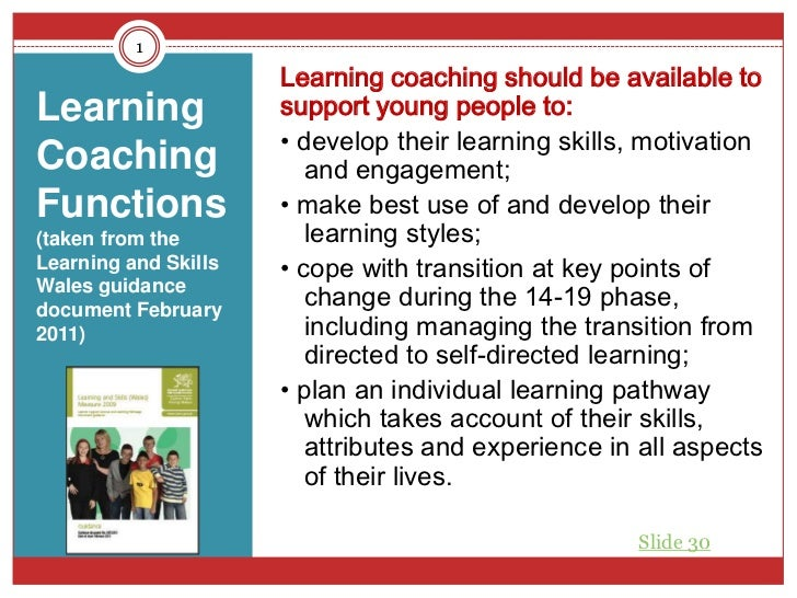 1                      Learning coaching should be available toLearning              support young people to:             ...