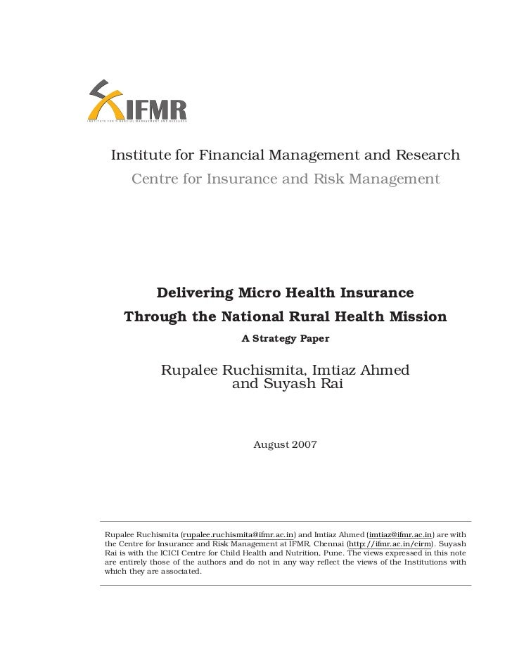 Institute for Financial Management and Research       Centre for Insurance and Risk Management              Delivering Mic...