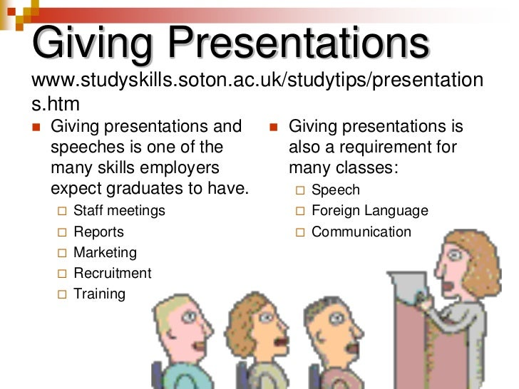 Giving Presentationswww.studyskills.soton.ac.uk/studytips/presentations.htm<br />Giving presentations and speeches is one ...