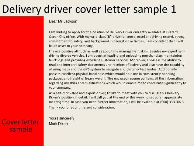 High Quality Delivery Driver Cover Letter