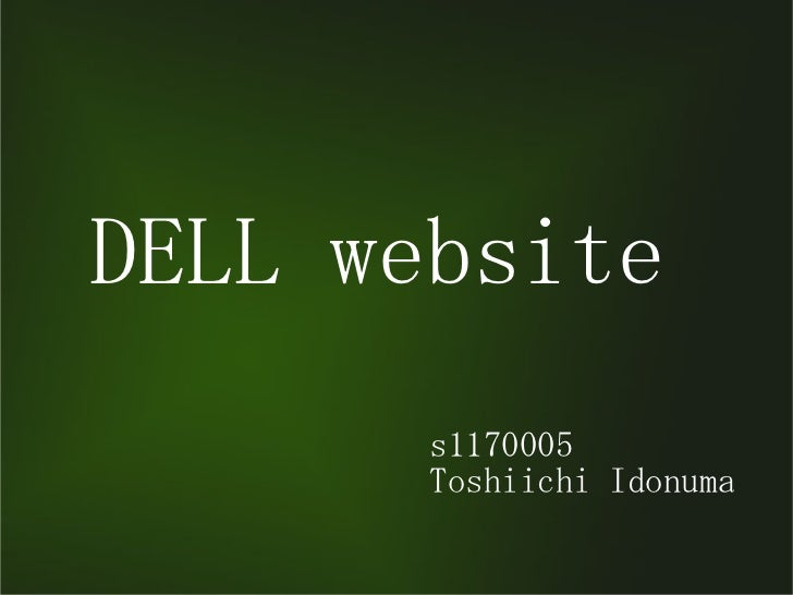DELL website       s1170005       Toshiichi Idonuma