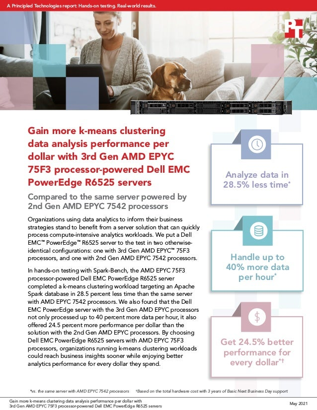 Gain more k-means clustering data analysis performance per dollar with 3rd Gen AMD EPYC 75F3 processor-powered Dell EMC Po...