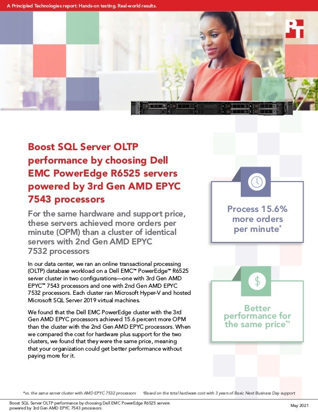 Boost SQL Server OLTP performance by choosing Dell EMC PowerEdge R6525 servers powered by 3rd Gen AMD EPYC 7543 processors...