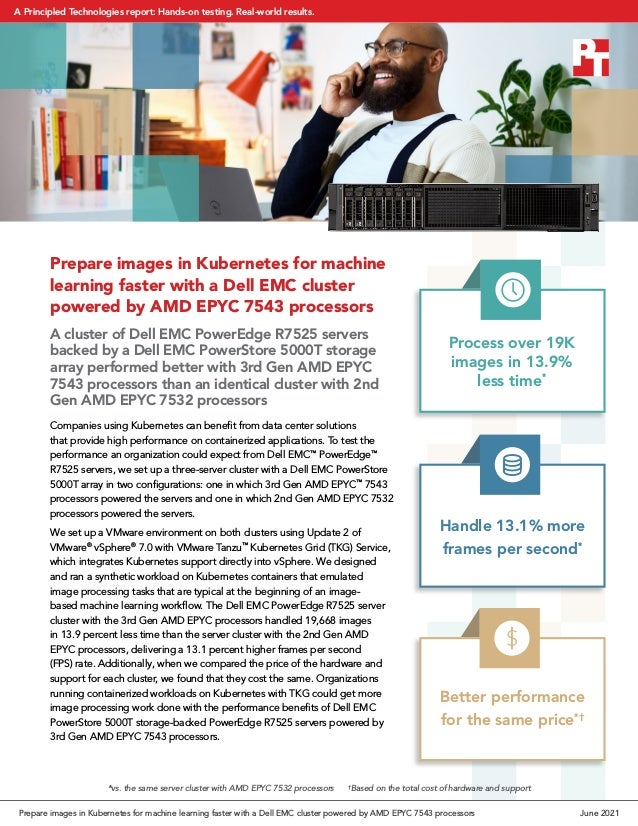 Prepare images in Kubernetes for machine learning faster with a Dell EMC cluster powered by AMD EPYC 7543 processors A clu...