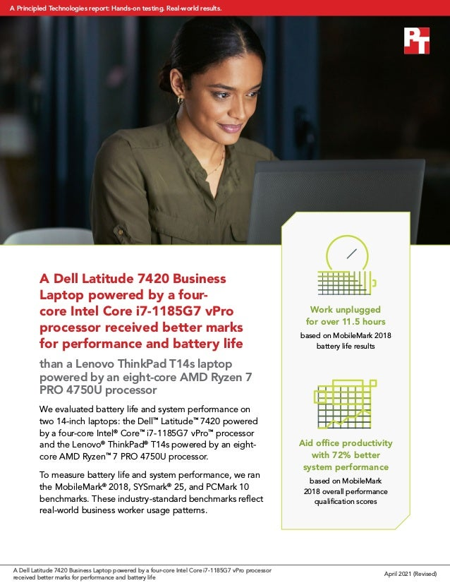 A Dell Latitude 7420 Business Laptop powered by a four- core Intel Core i7-1185G7 vPro processor received better marks for...