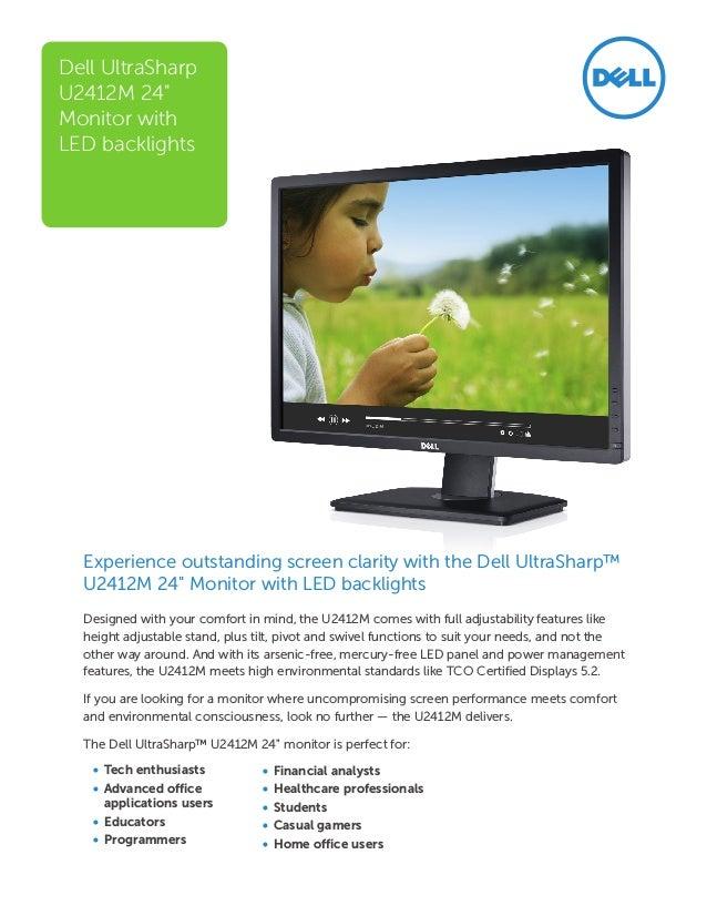Màn hình máy tính Dell U2412M UltraSharp Data sheet