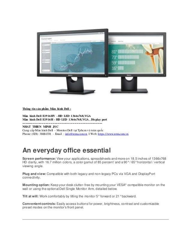 """16:9-5 ms Dell E1916H Dell E1916H 18.5/"""" LED LCD Monitor 1366 x 768-16.7"""