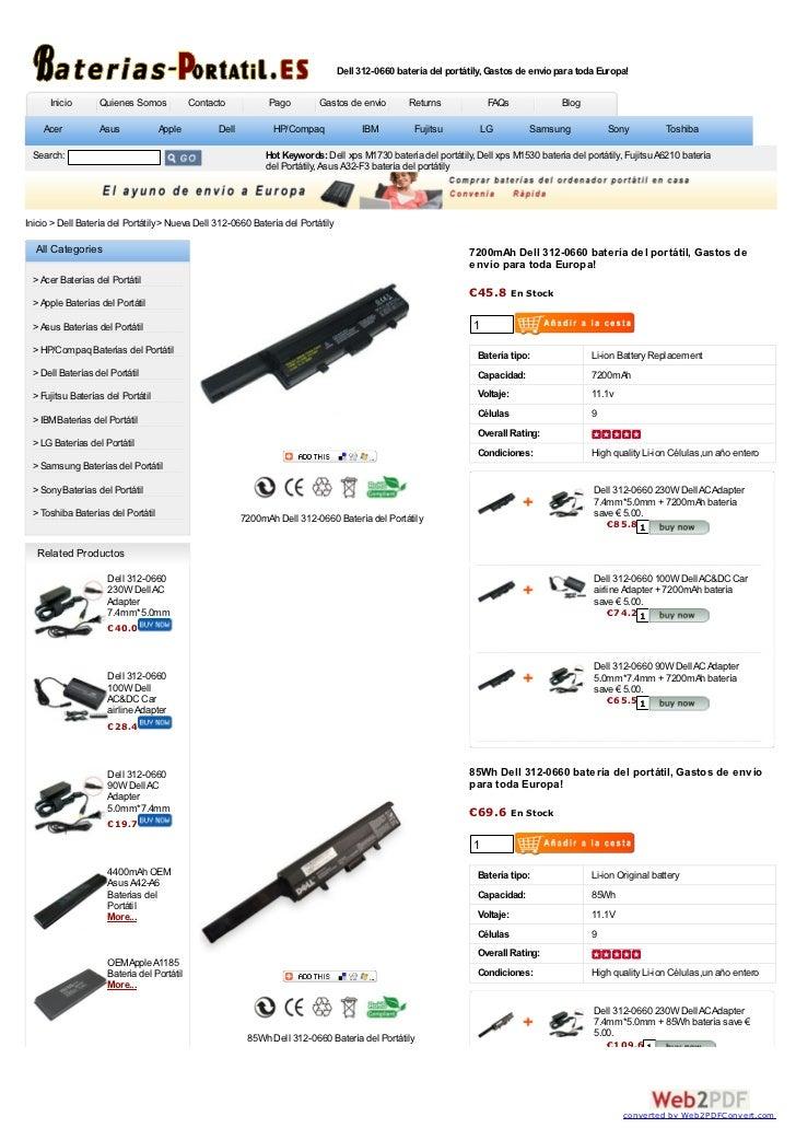 Dell 312-0660 batería del portátily, Gastos de envío para toda Europa!      Inicio       Quienes Somos            Contacto...