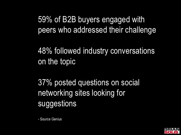 59% of B2B buyers engaged with peers who addressed their challenge<br />48% followed industry conversationson the topic<br...