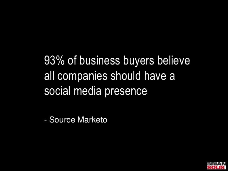 93% of business buyers believe all companies should have a social media presence- Source Marketo<br />