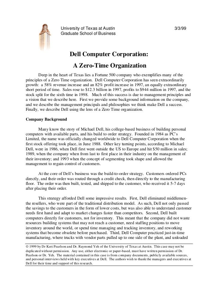 dell case study for jit Just-in-time (jit), the dignified a case study of just-in-time system in service industry main objective of this research is to make use of a case study to present various issues regarding implementation of jit for a service industry this case study also shows the benefits of reduction.