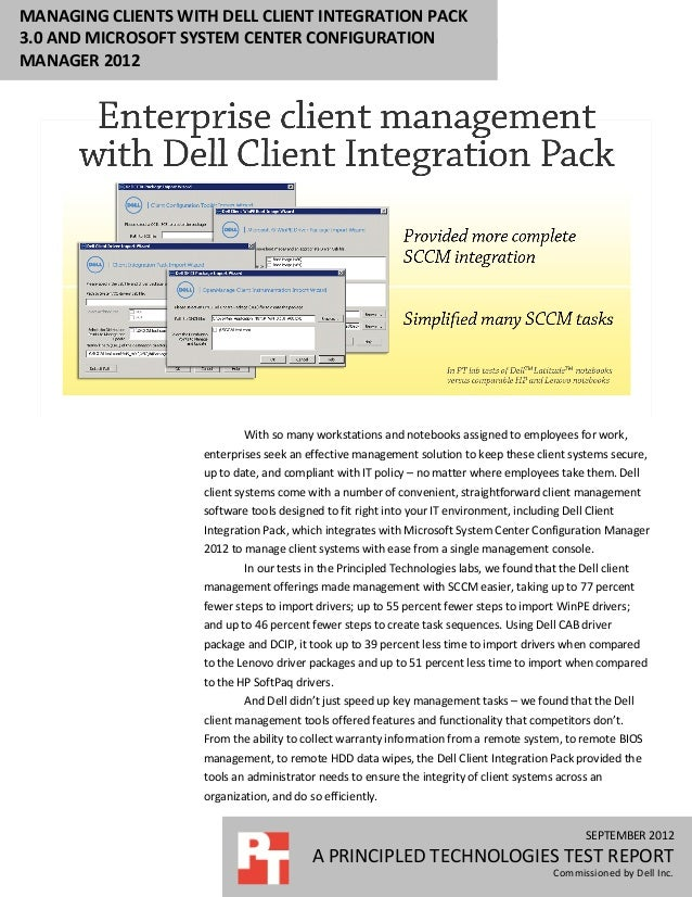 MANAGING CLIENTS WITH DELL CLIENT INTEGRATION PACK3.0 AND MICROSOFT SYSTEM CENTER CONFIGURATIONMANAGER 2012               ...