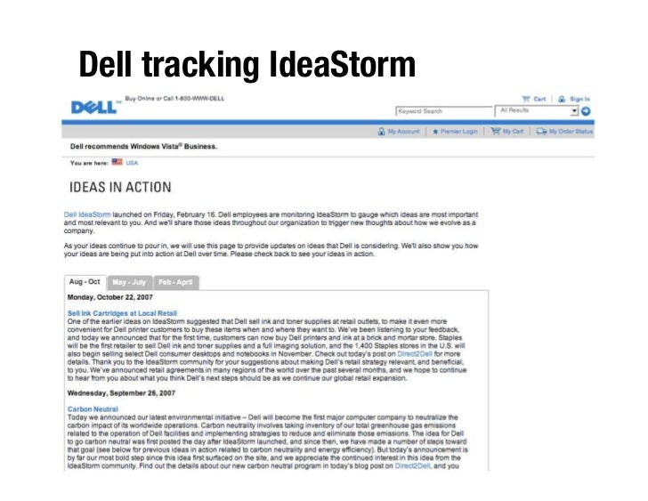 Dell tracking IdeaStorm