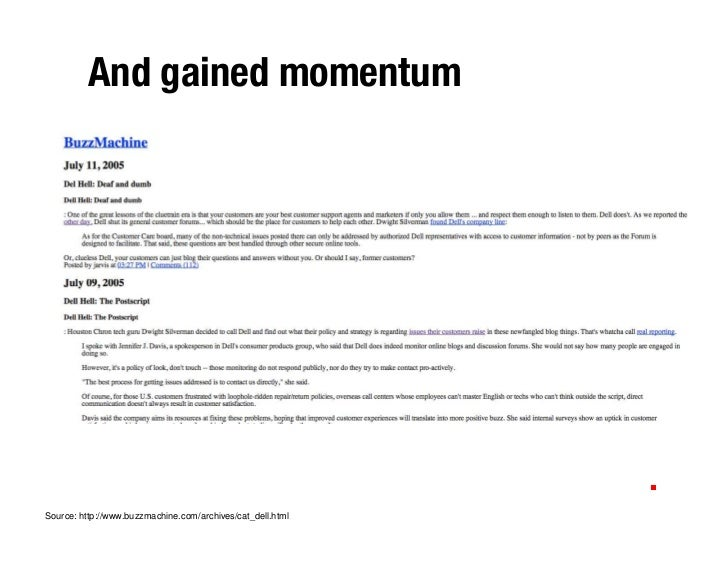 And gained momentum     Source: http://www.buzzmachine.com/archives/cat_dell.html