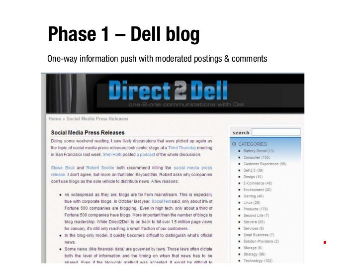 Phase 1 – Dell blog One-way information push with moderated postings & comments