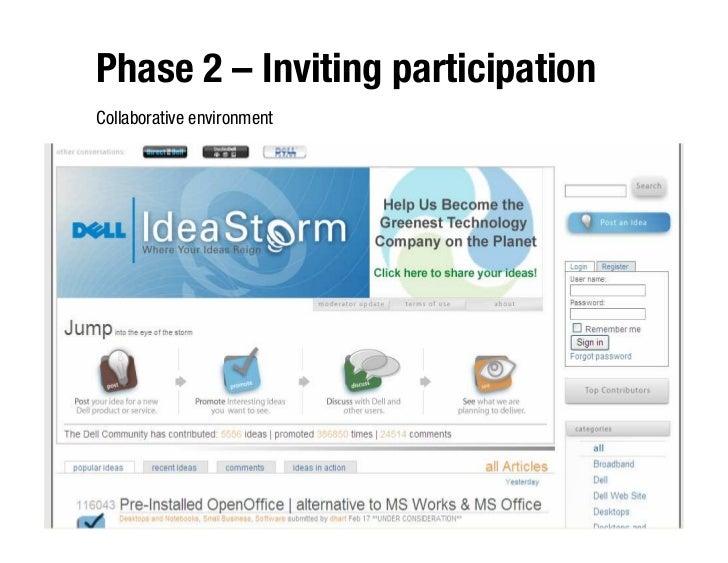 Phase 2 – Inviting participation Collaborative environment