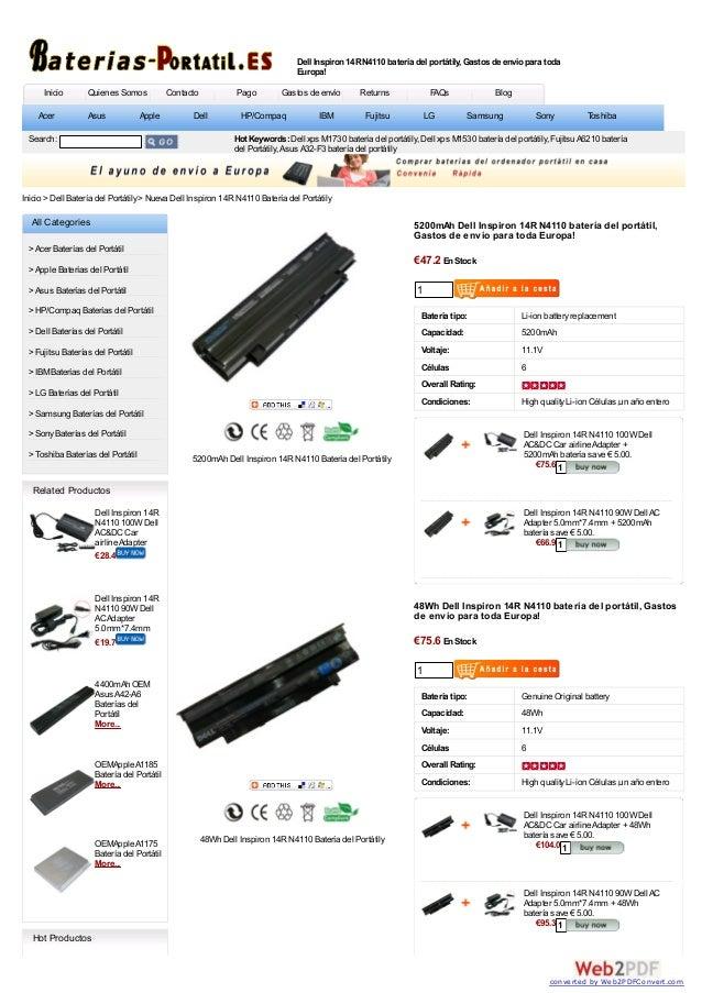 Dell Inspiron 14R N4110 batería del portátily, Gastos de envío para toda                                                  ...